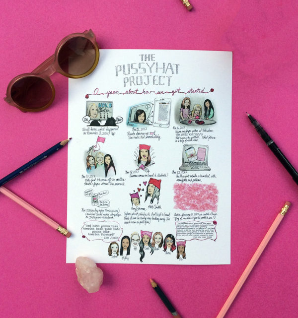 Pussyhat Herstory Illustrated Digital Download and Limited Edition Print