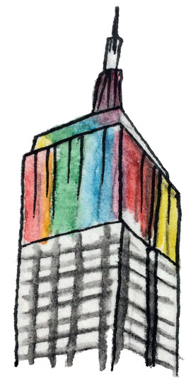 Empire State Building Rainbow Colors Illustration