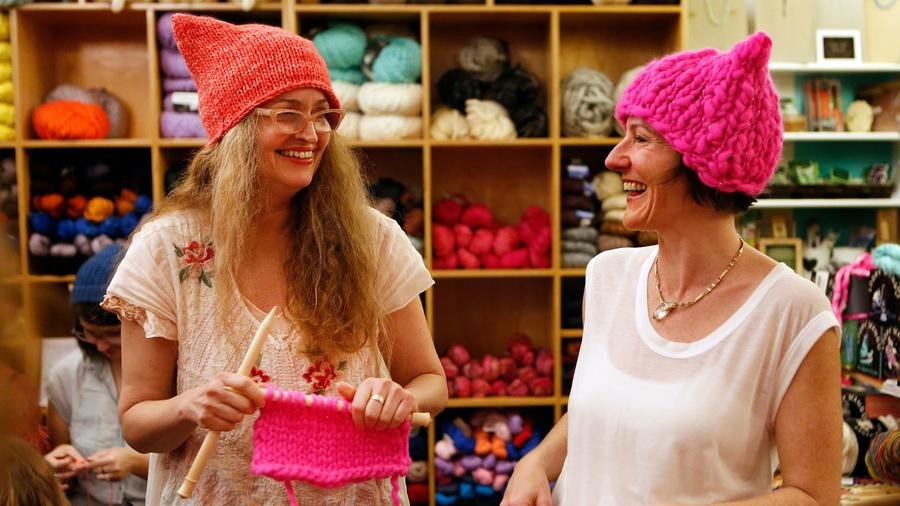 Kat Coyle and Megan Hollingshead at Little Knittery