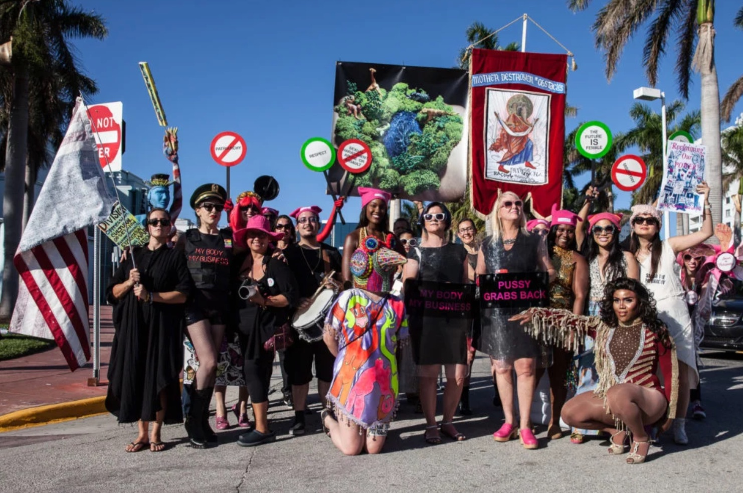 Art Parade Against the Patriarchy Crashes Art Basel Miami Beach, Targeting the President