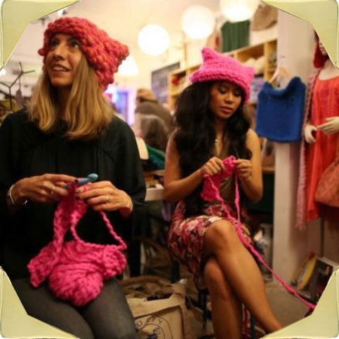 krista_suh_and_jayna_zweiman_knitting_pussy_hats