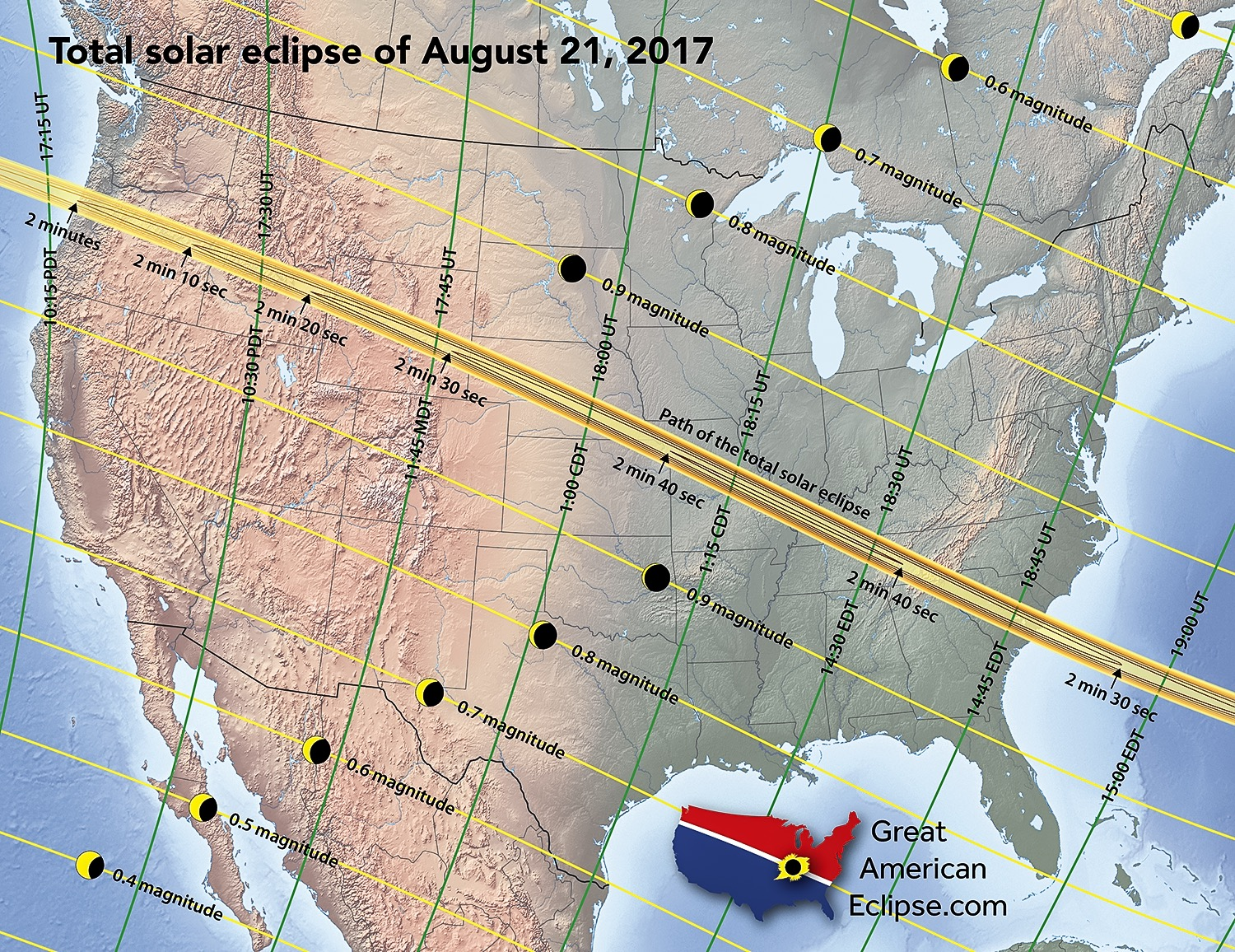 Great American Eclipse 2017 Map