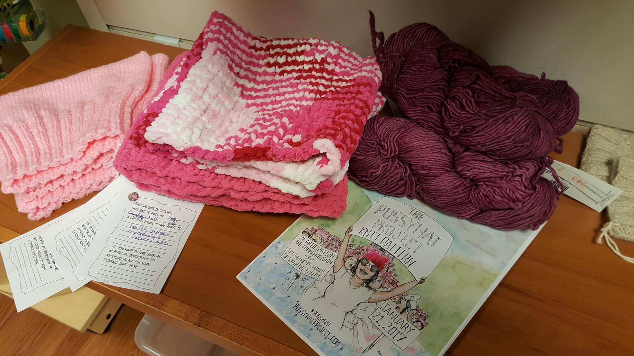 Knitters to needle Donald Trump with pink hats at women's march