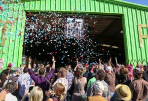 Throwing confetti at Meat Fight in Dallas, TX
