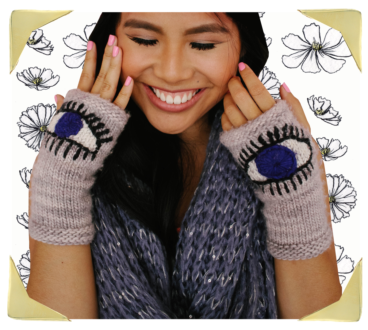 Krista Suh Wearing Evil Eye Gloves