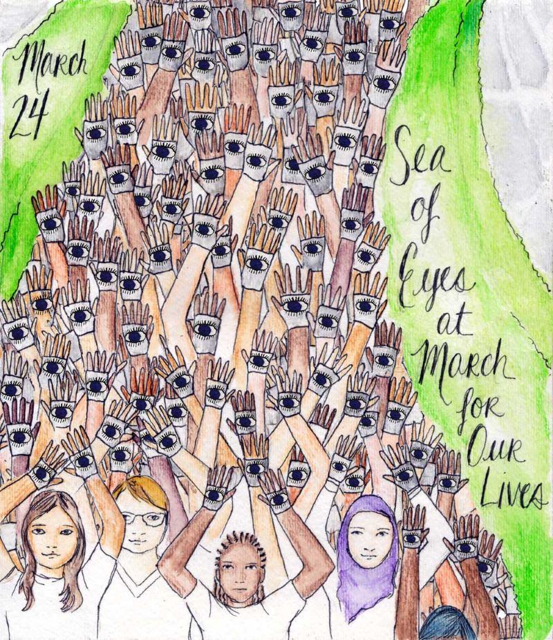 """Um Mar de Olhos contra a violência com armas na """"March For Our Lives"""" em Washington"""