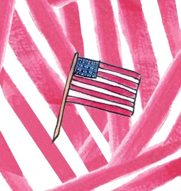 Flag on Stripe Background