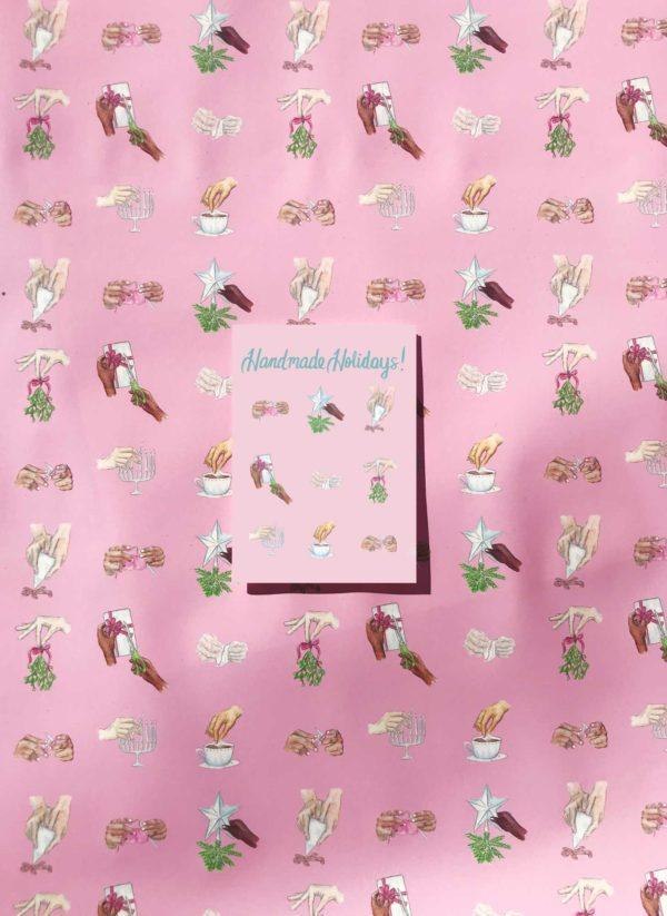 Handmade Holidays Gift Wrap and Greeting Card