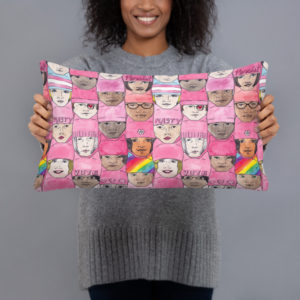 Women's March Faces Throw Pillow