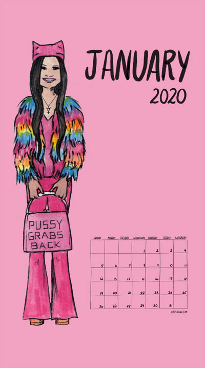 Feminism Style Voting Wall Calendar January